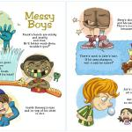 """Messy Boys"" from the book Be Good Boys, illustrated by Honoel A. Ibardolaza"